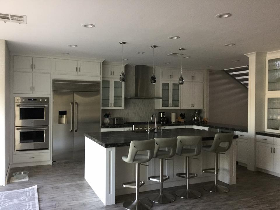 Picture of a modern white kitchen.